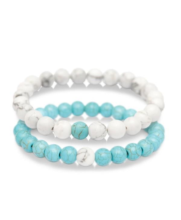 Zhepin 8MM Cross Couples Bracelets for Women Men Energy Healing Stone Crystals Stretch Bracelet - Bracelet Set1 - CP186N525YE