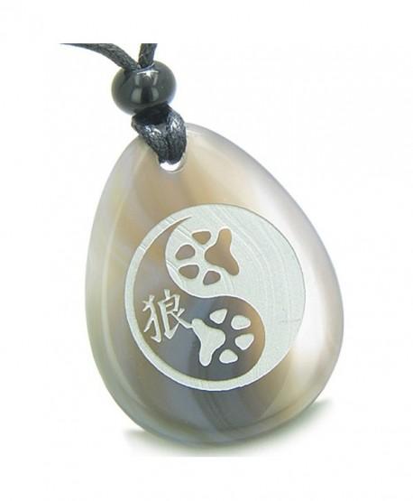 Amulet Wolf Paw Yin Yang Magic Kanji Good Luck Balance Powers Agate Pendant Necklace - CD11BCRJOE5