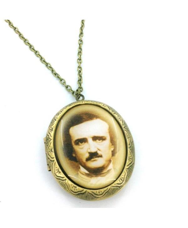 Edgar Allan Poe Portrait Cameo Locket Necklace - CK11JDJ4W7D