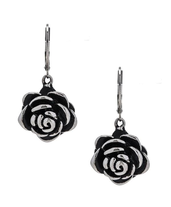 Designer Stainless Steel Rose Earrings for Women and Girls - CF12O39W2QD