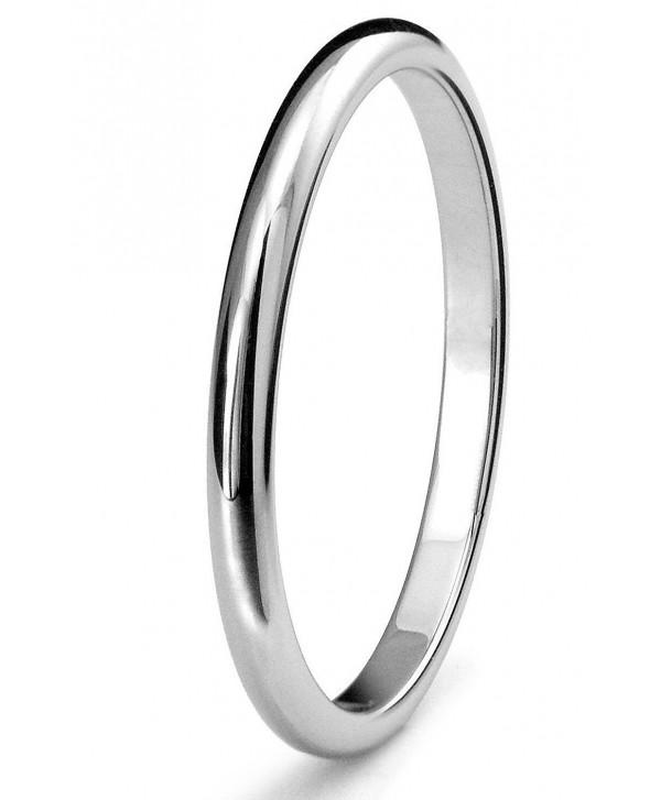 2mm Titanium Womens Plain Dome Polished Wedding Band Ring Size 4-9 - C012NV4WFF0