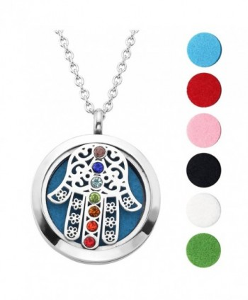 Hypoallergenic Surgical Stainless Aromatherapy Essential - Hamsa Hand(Chakra) - C21879L0G87