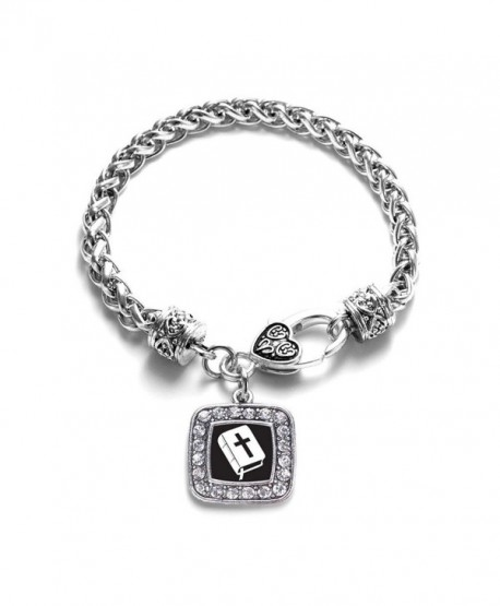Holy Bible Faith Believe in God Classic Silver Plated Square Crystal Charm Bracelet - C211MV40CDZ