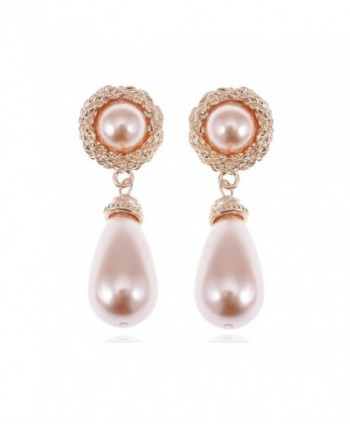 Alilang Golden Tone Rose Faux Pearl Antique Princess Teardrop Dangle Earrings - CB112WLW55Z