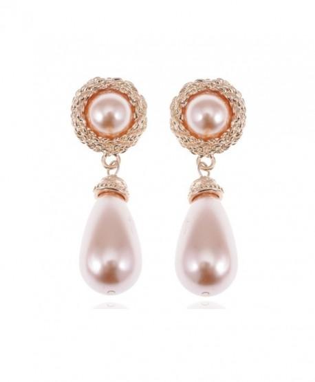 Alilang Golden Tone Rose Faux Pearl Antique Princess Teardrop Dangle Earrings - CB112WLW55Z