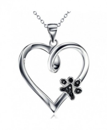 "925 Sterling Silver Forever Love Heart Puppy Paw Pendant Necklace- Rolo Chain 18"" - CO120PC40FF"