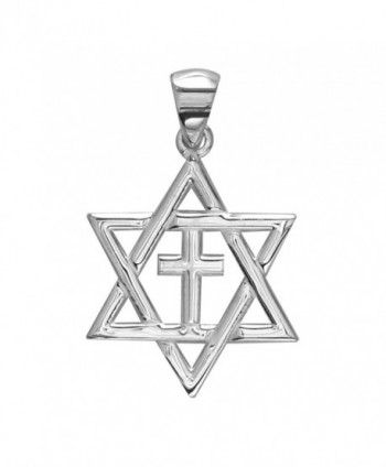 Small Messianic Star of David with Cross Charm in Sterling Silver - CZ11O00ZWOR