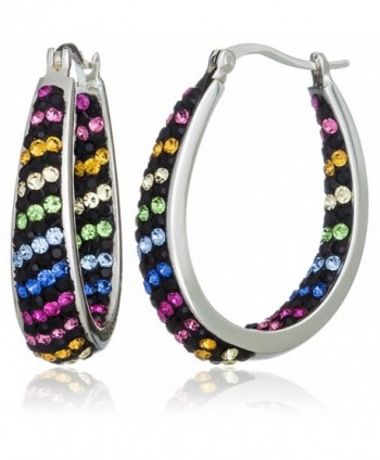 """Carly Creations Women's Silver Plated Multi Crystal """"Striped"""" Hoop Earring - CA12J1H4F2N"""