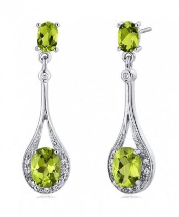 Peridot Dangle Earrings Sterling Silver 4.00 Carats - CQ116ULJPK1