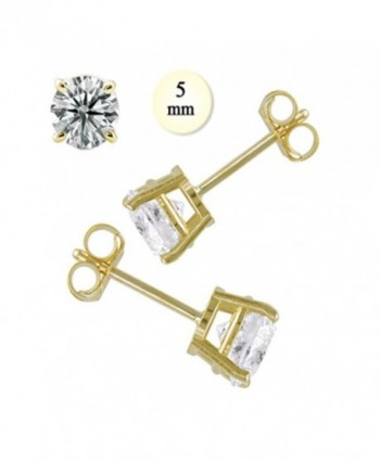 Crazy2Shop 14K Yellow gold Round Cut Simulated Diamond Earring (1 cttw)- 5mm - CC115GHGLIT