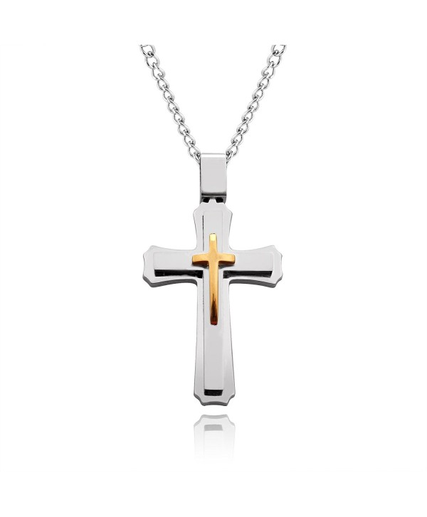Cross Necklace for Men & Women with Large Pendant and 24 Inch Chain (Silver and Gold Tone) - C011MYGXAQ5
