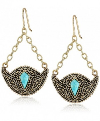 Barse Village Turquoise Bronze-Color Crescent Drop Earrings - C8119PQP68X