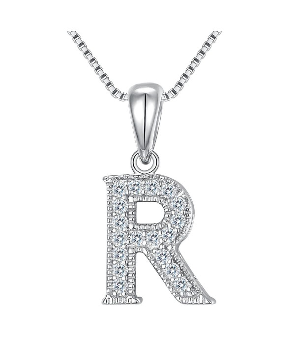 FANZE Women's 925 Sterling Silver Cubic Zirconia Initial Alphabet A-Z 26 Letters Pendant Necklace - C5187E4HW5S