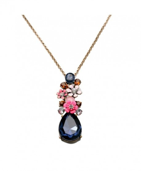 Peony.T Women's Vintage color Crystal Pendant Long Sweater Chain Necklace - CH17YLR7NNU