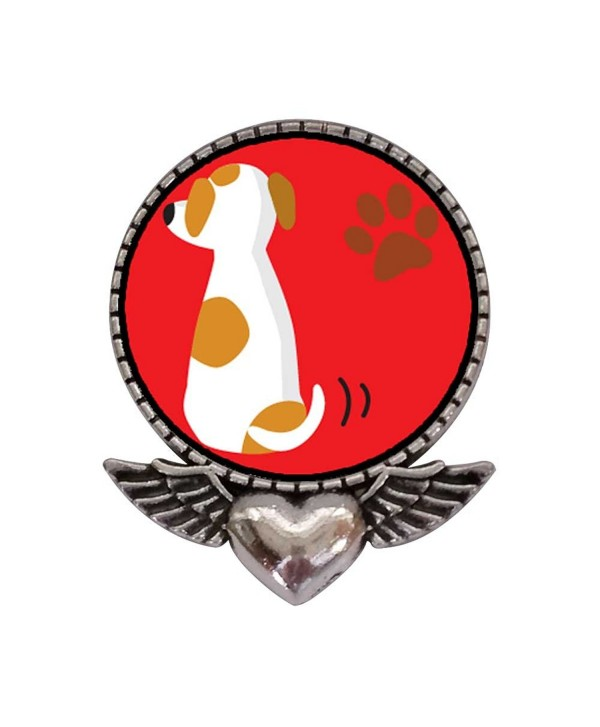 GiftJewelryShop Ancient Style Silver Plate Jack Russell Terrier Dog Heart With Angel Wings Pins Brooch - CX11T6Q4XJP