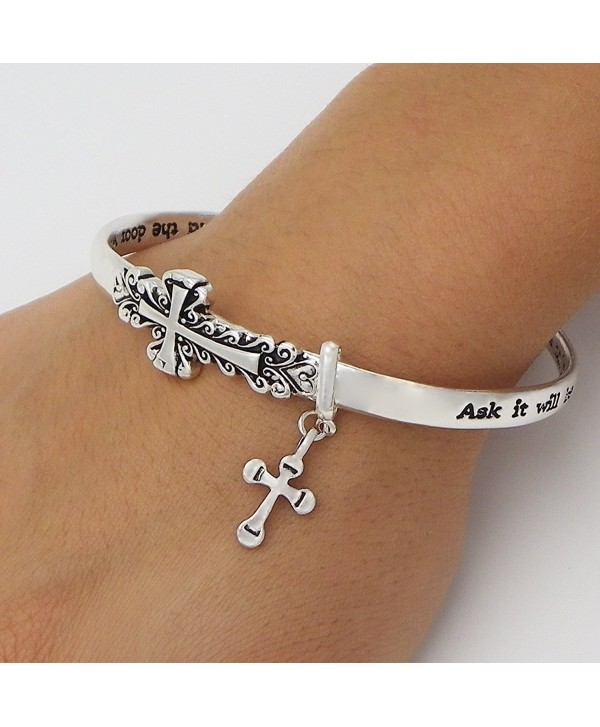 Rosemarie Collections Women's Sideways Cross Religious Twist Bangle Bracelet - CP124ZACDID
