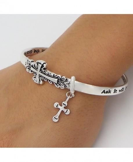 Rosemarie Collections Women's Sideways Cross Religious Twist Bangle Bracelet - CP124ZACDID