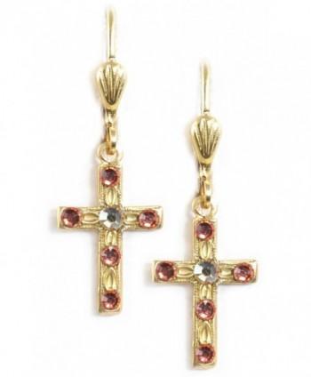 Clara Beau Delicate Swarovski crystal Latin Cross dangle earrings EC214 GoldTone - Padparadscha - CE186H4G2D9