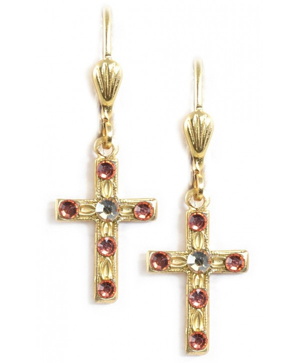 Delicate Swarovski Crystal Latin Cross Dangle Earrings Ec214 Goldtone Padparadscha Ce186h4g2d9