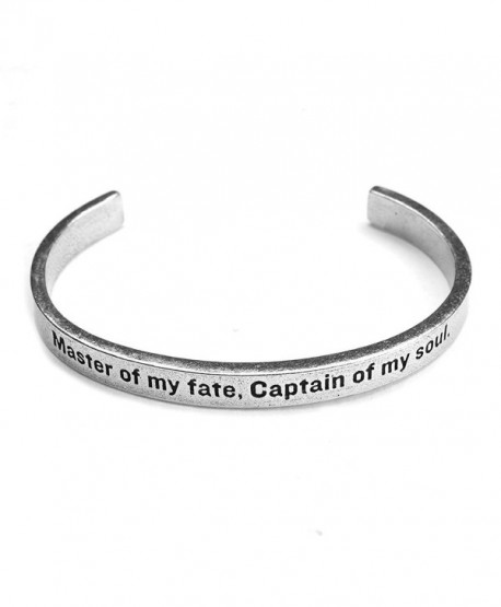 Women's Note To Self Inspirational Lead-Free Pewter Cuff Bracelet - Master Of My Fate - C311Y9KBACZ