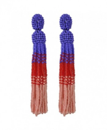 Idealway Handmade Statement Earring Bohemian Beaded Long Tassels Elegant Earrings (Pink) - CQ188KIUGNY