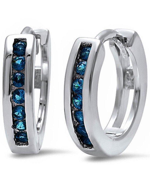 Half Eternity Round Simulated Blue Sapphire .925 Sterling Silver Hoop Earrings - CX12I7RLI5Z