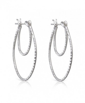 925 Sterling Silver Diamond Cut Rhodium Plated Double Hoop Earrings - CB184RW3DQI