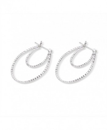 Sterling Silver Diamond Rhodium Earrings in Women's Hoop Earrings