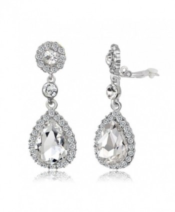 Gorgeous Austrian Cut Crystal Rhinestone Pierced Wedding Bridal Teardrop Drop Dangle Earrings - CK1880EK0MX