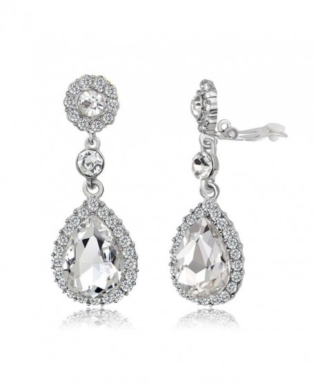 Gorgeous Austrian Cut Crystal Rhinestone Pierced Wedding Bridal Teardrop Drop Dangle Earrings - CK1880EK0MX