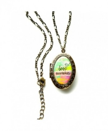 Kelly Rae Roberts Necklace- 19-in Brass-Tone Leap Fearlessly Pendant Locket Necklace - CF11CG1PWE7