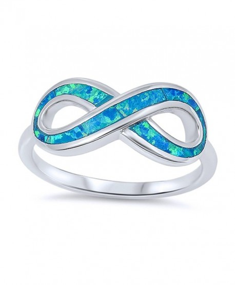 Sterling Silver Simulated Blue Opal Infinity Band Ladies Ring 9mm ( Size 5 to 10 ) - CH12ITS8AB1