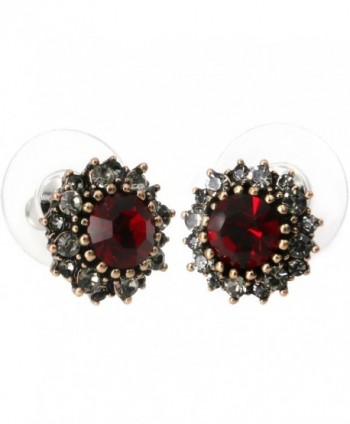 Yoursfs Vintage Earrings Round Dark Red Austrian Crystal/Opal/Heart Shaped Studs Dainty Earrings - Burgundy - C812E1YBSSP
