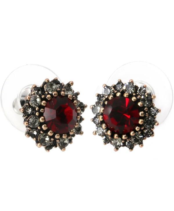 Yoursfs Vintage Earrings Round Dark Red Austrian Crystal/Opal/Heart Shaped Studs Dainty Earrings - Burgundy - C812E1YBSSP