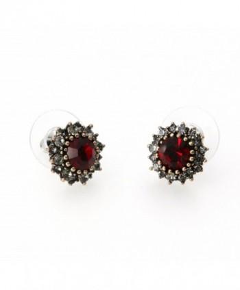 Yoursfs Burgandy Earrings Vintage Austrian in Women's Stud Earrings