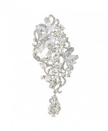 EVER FAITH Austrian Crystal 4.5 Inch Party Floral Vine Waterdrop Brooch Pendant - Clear Silver-Tone - CW11RHCKVN7
