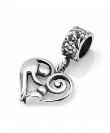 925 Sterling Silver Mother and Child Heart Dangle Bead Charm - CF118WEJ7JD