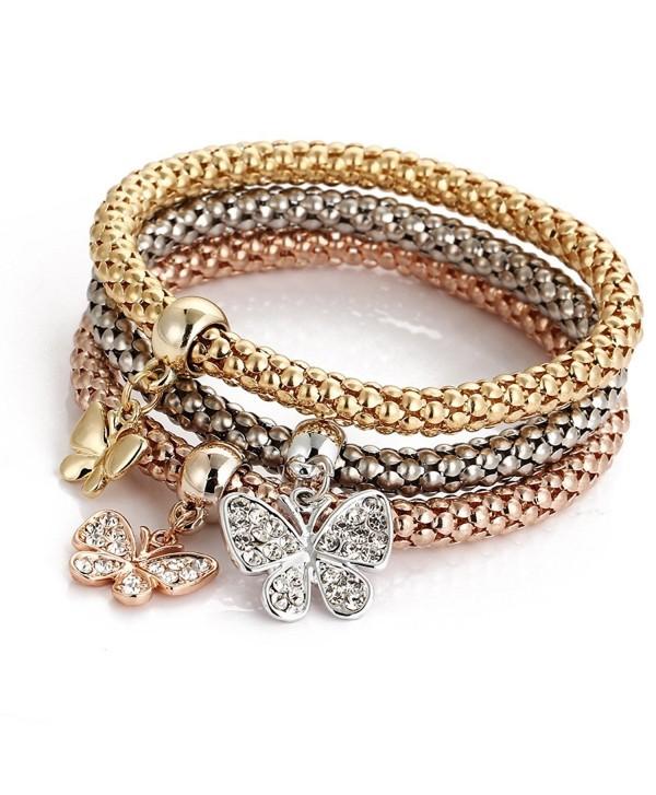 Leefi Women Austrian Crystal Hoop Chain Art Deco Classical Elastic Stretch Fashion Bracelet 3-Pcs - Butterfly - CV12MYIW12G