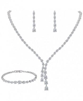 EleQueen Silver tone Zirconia Teardrop Necklace - Silver-tone - CV185HY3XRR