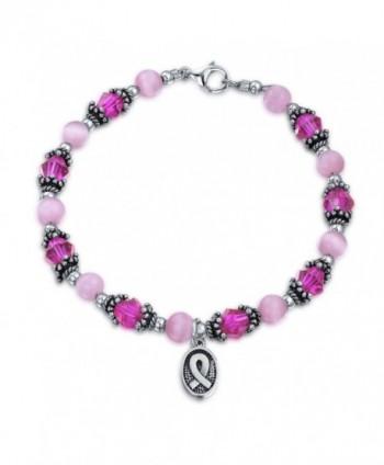 Bling Jewelry Enamel Cancer Awareness Bracelet Pink Crystal Silver Ribbon - C011553MJS5