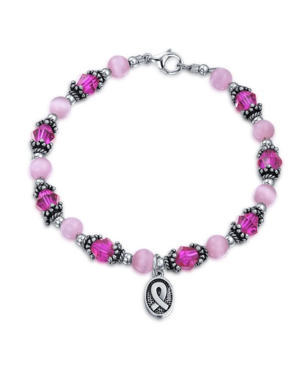 Bling Jewelry Enamel Cancer Awareness Bracelet Pink Crystal Silver Ribbon - C011553MJS5
