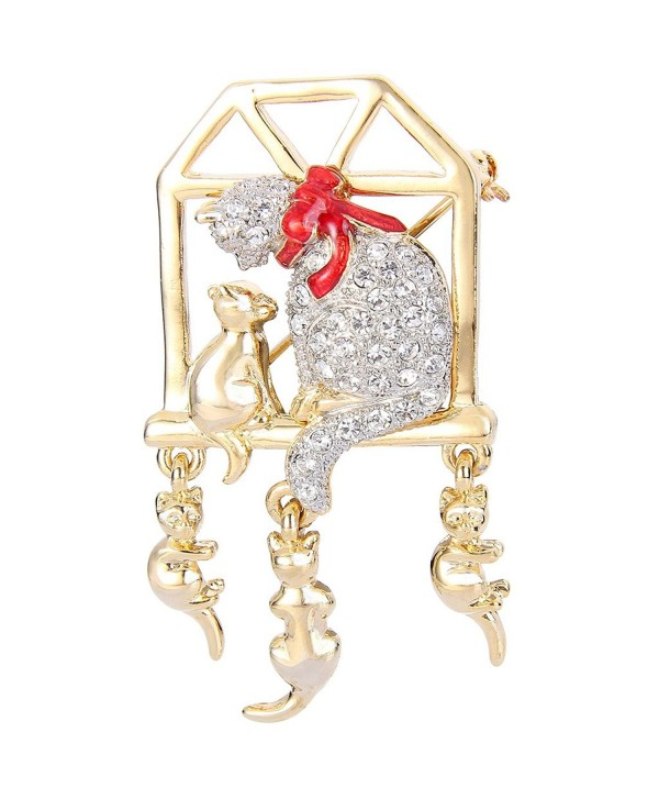 EVER FAITH Gold-Tone Austrian Crystal Lovely Red Bowknot Mother Cat and Children Brooch Pin Clear - CW128T9GGBH