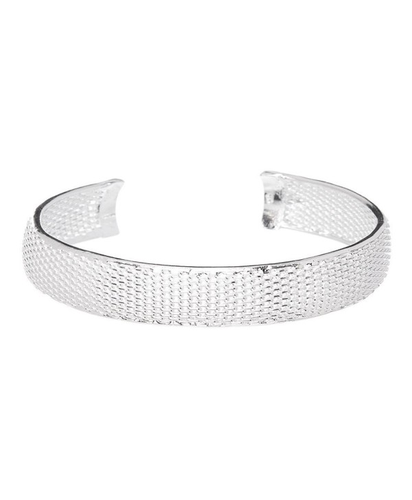 Mariah Bracelet Bangle 925 Sterling Silver Plated Adjustable Wide Cuff Bangle- Bracelet Bangle for Women - CV12NZ5WAUU