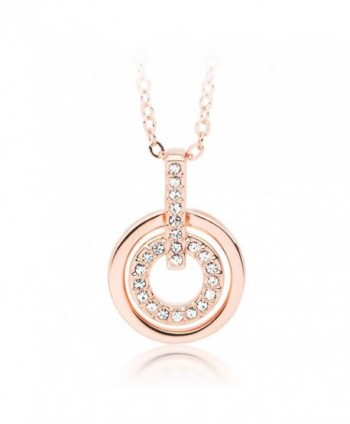 "MYJS Circle Rhodium Plated Classic Pendant Necklace with Clear Swarovski Crystals - 17+2"" Extender - CJ1230MABAN"