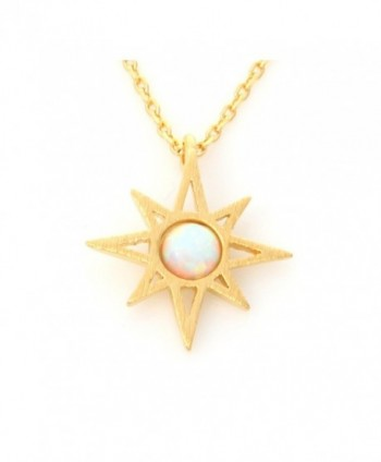 "LAONATO Round Opal Sunshine Necklace 17"" Gold Plated Brass - White opal - CG17YL5NZOK"