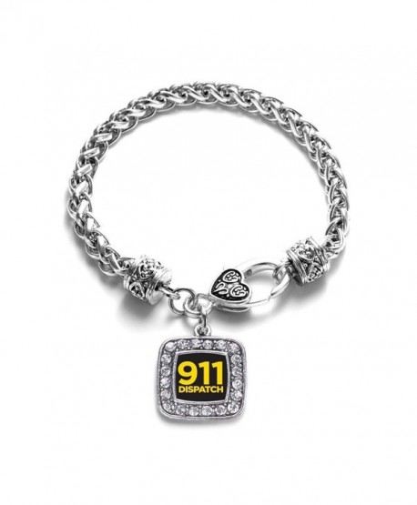 911 Dispatch Classic Silver Plated Square Crystal Charm Bracelet. - CH11U7O4VXN