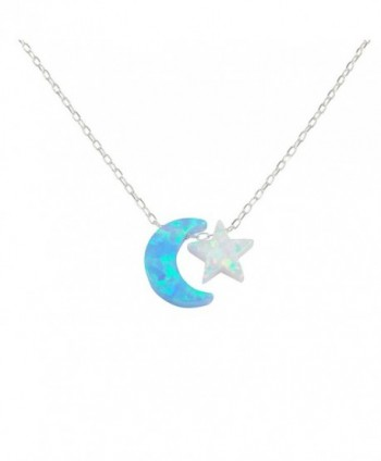 Opal Moon and Star Necklace I Love You To The Moon And Back Necklace 925 Sterling Silver Chain - CW182DM3LTH