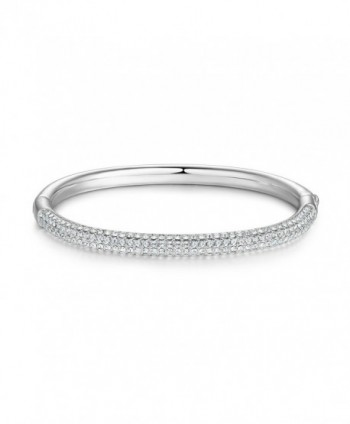 MYJS Stone Mini Bangle Bracelet with Swarovski Crystals Rhodium Plated - C717YGYIZYG