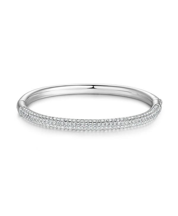 MYJS Stone Mini Bangle Bracelet with Swarovski Crystals Rhodium Plated - C717YGYIZYG