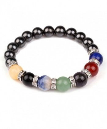 Chakra Hematite Bracelet Healing Crystal Magnetic Therapy Stretch Stone Beaded Bracelet(8mm) For Men&Women - CI12M272O13